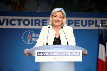 Marine Le Pen, head of the far-right French party National Rally, celebrating after early European election results in Paris, May 26, 2019.