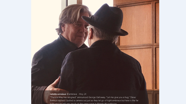 'The far right and far left very much on the same page': Natalia Antelava's tweet from the Kazkhstan conference where Steve Bannon and George Galloway embraced