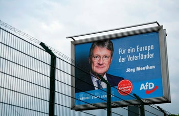 An EU election campaign placard from the far right Alternative for Germany (AfD) reads: 'For a Europe of Fatherlands' featuring party candidate Joerg Meuthen. Dortmund, western Germany. May 17, 2019
