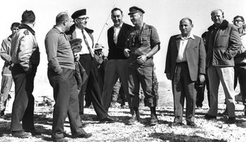 Prime Minister Levi Eshkol, Chief of Staff Yitzhak Rabin and Eshkol aide Isser Harel visiting the Negev, 1965.