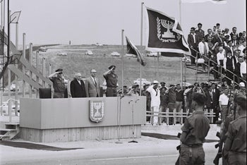 Chief of Staff Yitzhak Rabin, President Zalman Shazar and Prime Minister Levi Eshkol during Independence Day parade, 1965.