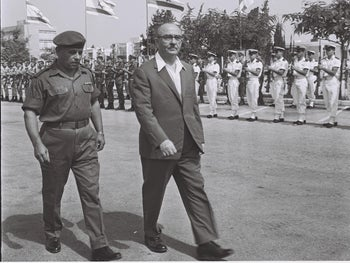 Prime Minister and Defense Minister Levi Eshkol at the entrance to the Defense Minister in Tel Aviv, 1963.