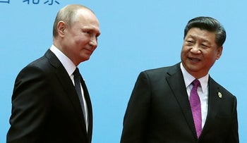 Russian President Vladimir Putin and Chinese Premier Xi Jinping in Beijing, China, April 27, 2019