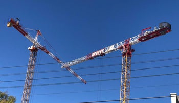 Cranes at the construction site where the foreign worker was arrested, May 27, 2019.