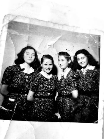 Judit Ornstein, right, photographed with three other young Jewish women, including Jutka (Judit) Greenbaum and Rosi Eisler, who lived with her in Budapest. Greenbaum was also mentioned in the diary.