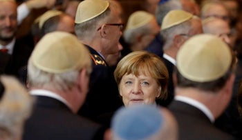 German Chancellor Angela Merkel arrives for the Ohel-Jakob award ceremony on the 10th anniversary of the Synagogue in Munich, southern Germany, Wednesday, Nov. 9, 2016.