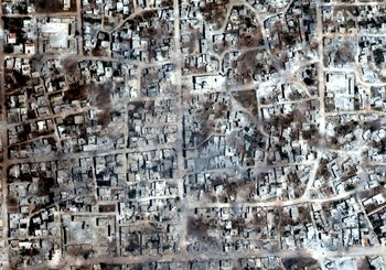 A satelite overview image of Kafr Nabudah that shows damaged and destroyed buildings, Idlib Province, Syria May 26, 2019.