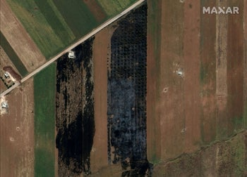 A satellite overview image that shows burned fields, near Kafr Nabudah, Idlib Province, Syria May 26, 2019. Picture taken May 26, 2019.