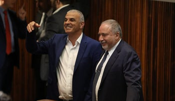 Kulanu Chairman Moshe Kahlon and Yisrael Beiteinu Chairman Avigdor Lieberman at the Knesset vote to dissolve the government, May 27, 2019.