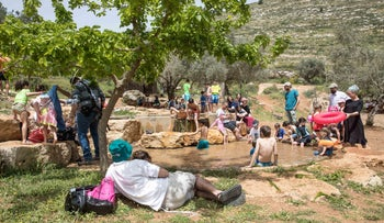 Israelis enjoying the springs at Ma'ayan Hagvura in the central West Bank, April 24, 2019.