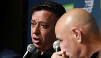 Avi Gabbay speaks at a conference in Tel Aviv, on Friday, May 31, 2019.