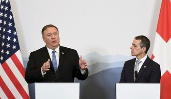 US Secretary of State Mike Pompeo (L) and Swiss counterpart Ignazio Cassis attend a press conference at the Castelgrande closing a bilateral meeting on June 2, 2019 in Bellinzona, southern Switzerland