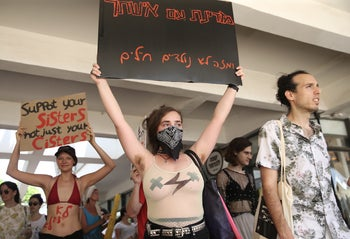Protesters at the Tel Aviv SlutWalk, May 31, 2019.