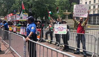Pro-Palestinian protesters on the sidelines of the 'Celebrate Israel' parade, June 2, 2019.