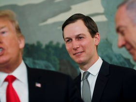 White House senior advisor Jared Kushner with U.S. President Donald Trump talk as the president meets with and Israel's Prime Minister Benjamin Netanyahu at the White House in Washington, U.S. March 25, 2019