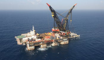 An aerial view shows the newly arrived foundation platform of Leviathan natural gas field, in the Mediterranean Sea, off the coast of Haifa, Israel January 31, 2019.