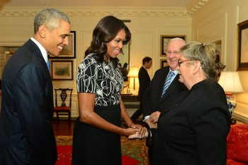 Nechama and Reuven Rivlin with Barack and Michelle Obama, 2015.