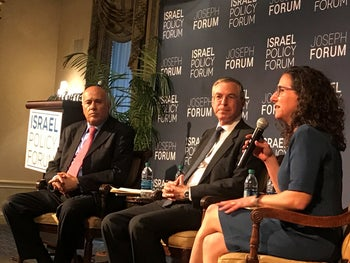 Tamara Cofman Wittes, right, speaking at an Israel Policy Forum event alongside Jibril Rajoub and Michael Herzog in New York, April 2017.