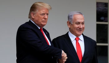 President Donald Trump welcoming Prime Minister Benjamin Netanyahu to the White House in Washington, March 25, 2019.