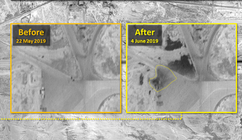 Satellite images of the T-4 base near Homs, Syria