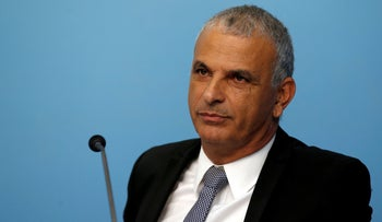 FILE PHOTO: Finance Minister Moshe Kahlon attends a news conference in Jerusalem on October 9, 2018.
