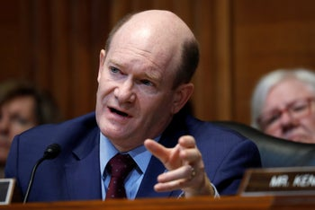 Sen. Chris Coons (Democrat of Delaware) speaking on Capitol Hill in Washington, May 19, 2019.
