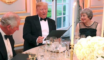 The Prince of Wales, President Donald Trump and British Prime Minister Theresa May at the Return Dinner at Winfield House, the residence of the U.S. Ambassador to the U.K. in Regent's Park in London as part of his state visit to Britain on Tuesday, June 4, 2019