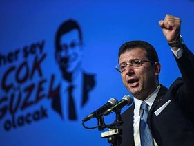 Turkish opposition candidate for the Istanbul re-run for the mayor's election, Ekrem Imamoglu delivers a speech on stage during his repeat political campaign coordination meeting in Istanbul. May 22, 2019