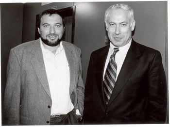 Avigdor Lieberman with Benjamin Netanyahu a few days after the latter had been sworn in as Israel's prime minister, June 1996.