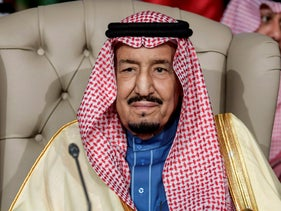 Saudi Arabia's King Salman at the opening session of the Arab League summit in Tunis, Tunisia, March 31, 2019.