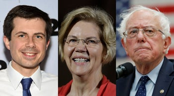 Democratic presidential candidates Mayor Pete Buttigieg, left, Sen. Elizabeth Warren and Sen. Bernie Sanders.
