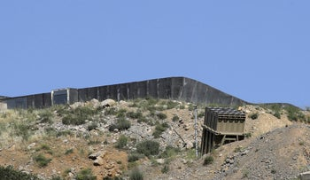 A battery of Israel's Iron Dome defence system, designed to intercept and destroy incoming short-range rockets and artillery shells, is pictured in Mount Hermon, in the Iraeli-annexed Golan Heights from the Syrian side, on June 2, 2019.