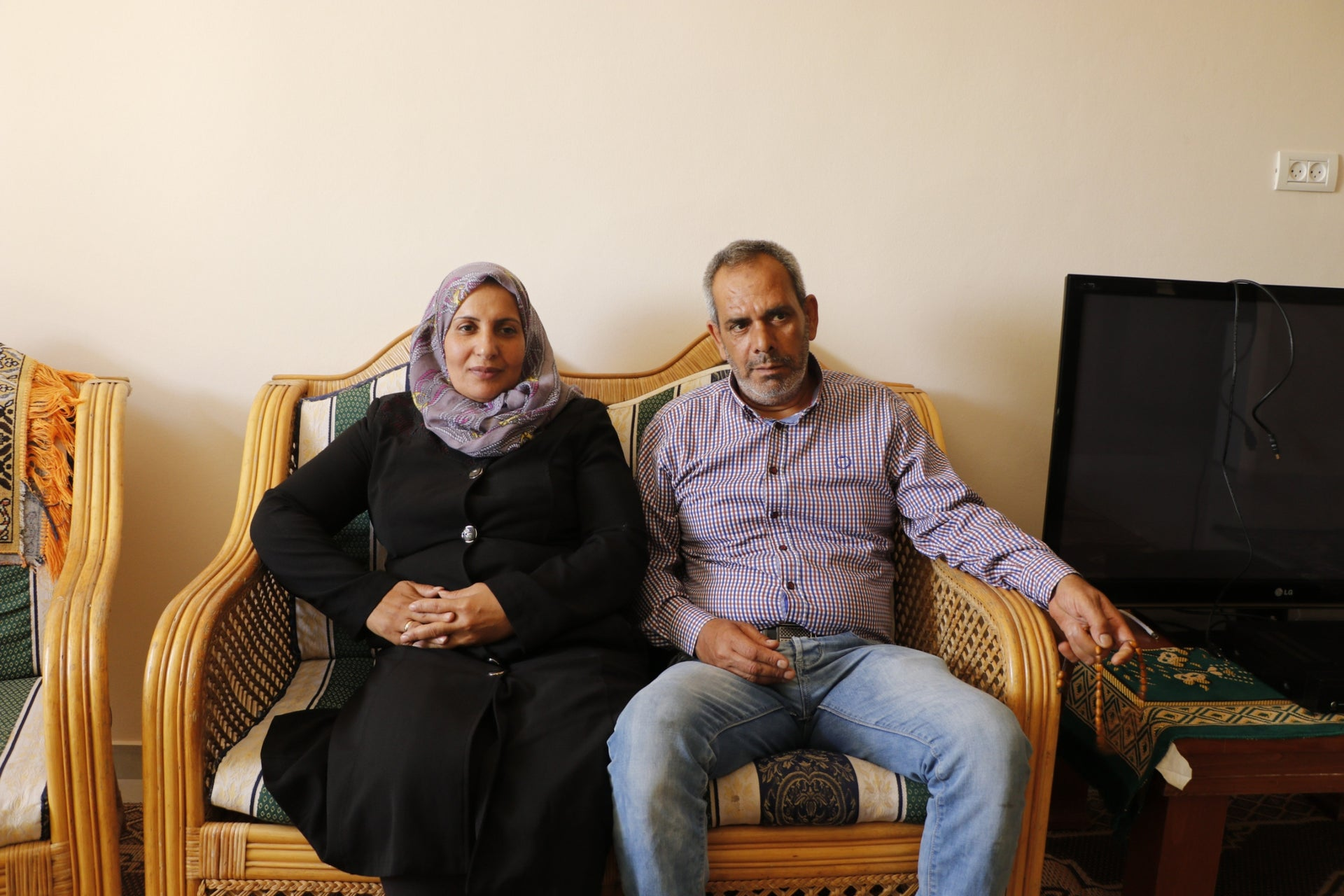 Hamis Ziada and his second wife, Donya Daher. He purchased the home his extended family lived in with money saved from his work as an electrician at the Egged bus cooperative in Holon.