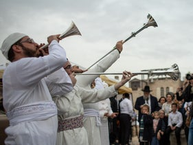 A ceremony reenacting the biblical Passover sacrifice in the old city of Jerusalem, April 15, 2019.