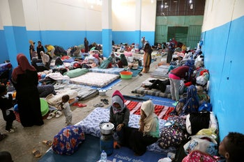 Migrants at the Anti-Illegal Immigration Agency in al-Nasr detention center in Zawiya, west of Tripoli, Libya, April 26,2019.