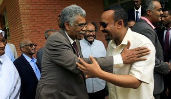 Ethiopian Prime Minister Abiy Ahmed meets members of Sudan's opposition alliance to mediate in its political crisis at the Ethiopian Embassy in Khartoum, Sudan, June 7, 2019.