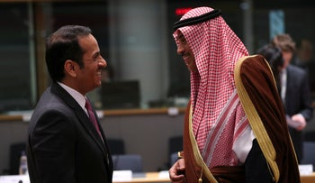 Qatar's Foreign Minister Sheikh Mohammed bin Abdulrahman bin Jassim Al-Thani (left) talks to Kuwait's FM Sheikh Sabah Al-Khalid Al-Sabah during a Syria donors conference in Brussels, Thursday, March 14, 2019.