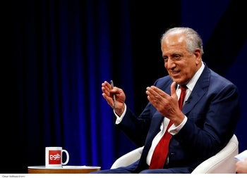 U.S. envoy for peace in Afghanistan Zalmay Khalilzad speaks during a debate at Tolo TV channel in Kabul, Afghanistan, April 28, 2019.