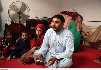Farmanullah Shirzad who fled his village in Nangarhar province with his family in their temporary home in Jalalabad, Afghanistan, April 2019.