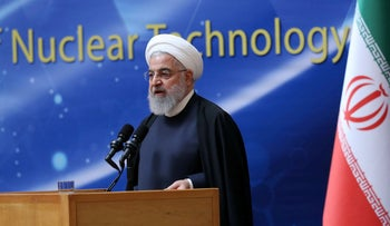 Iran's Hassan Rohani speaks during Iran's National Nuclear Day in Tehran, Iran, April 9, 2019.