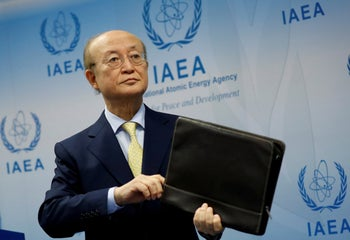 IAEA director Yukiya Amano addresses a news conference at the UN nuclear agency's headquarters in Vienna, Austria, March 4, 2019.
