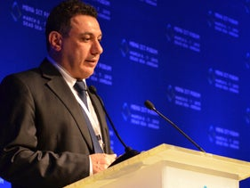 File photo: Nizar Zakka, a Lebanese technology expert and advocate for Internet freedom, delivering a speech during the MENA ICT Forum conference in Jordan, March 6, 2013.