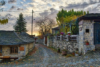 Sunset in the village of Megalo Papingo in Ioannina, Greece