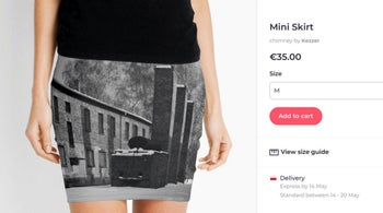 A screen grab from the site of an online vendor showing an Auschwitz-printed mini-skirt for sale, May 8, 2019