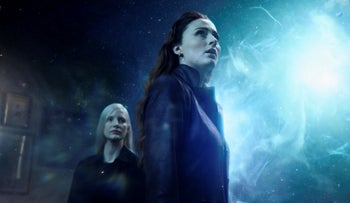 """Sophie Turner and Jessica Chastain, left, in a scene from """"Dark Phoenix."""""""