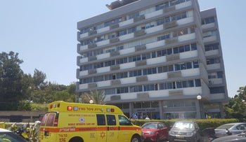 The building from which the worker fell, in Haifa, on Tuesday, June 11, 2019.