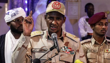 File photo: Gen. Mohammed Hamdan Dagalo, the deputy head of the military council that assumed power in Sudan after the overthrow of President Omar al-Bashir, speaks to journalists in Khartoum, Sudan, May 18, 2019