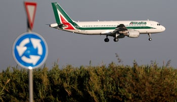 An Alitalia Airbus A320-200 airplane comes in to land in Rome, Italy, in 2018.