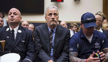 Former Daily Show Host Jon Stewart arrives before testifying during a House Judiciary Committee hearing on reauthorization of the September 11th Victim Compensation Fund on Capitol Hill on June 11, 2019 in Washington, DC.