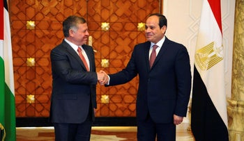 File photo: Egyptian President Abdel-Fattah el-Sissi shakes hands with Jordan's King Abdullah II, in Cairo, Egypt, February 21, 2017.